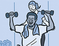 drawing of man lifting weights aided by woman trainer