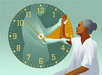 graphic of woman patient with clock