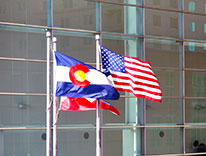 US, Colorado Flags Waving