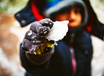 Child holding a small snowball in front of the camera