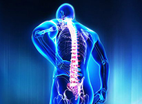 blue graphic of person standing with spine visible