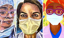 portraits of three women physicians