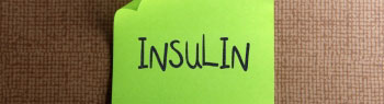 Graphic image of the word Insulin written on a post-it note