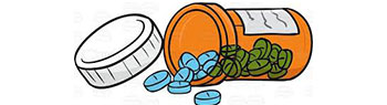 Illustrated graphic of a prescription bottle on its side with pills spilling out