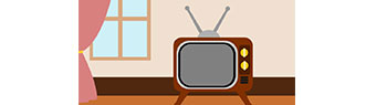 Graphic illustration of a television in home.