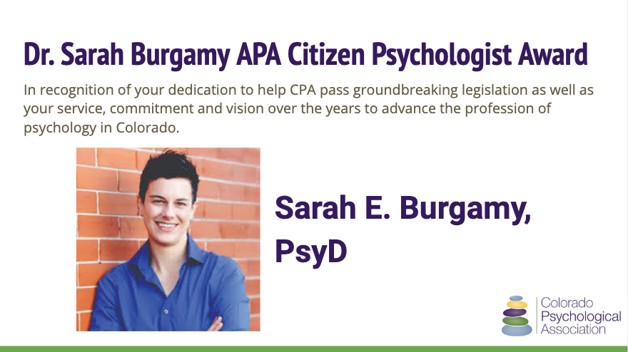 Dr. Sarah Burgamy APA Citizen Psychologist Award