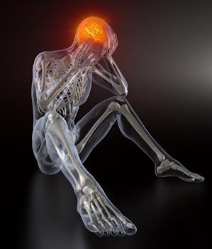 Stressed skeleton person sitting on the ground