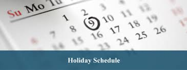 Holiday Schedule-generic calendar