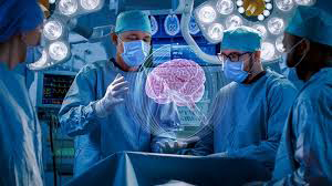 Surgeons looking at hologram of brain