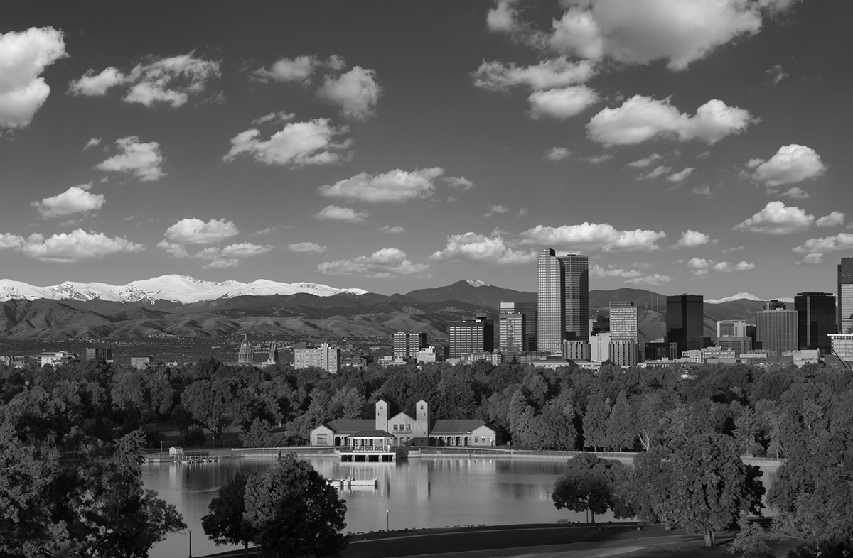 Denver black & white skyline