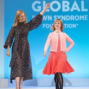 Actress Laura Linney with a runway fashion participant